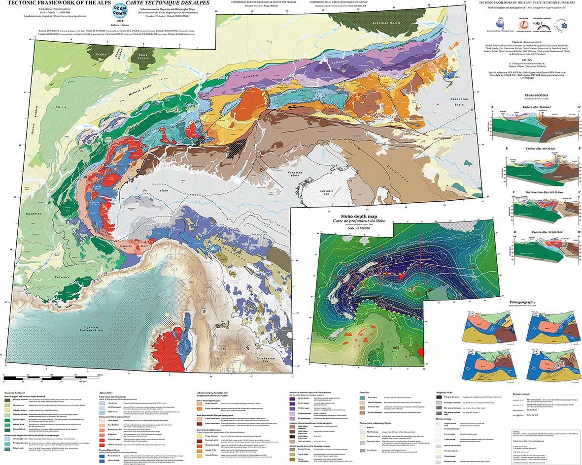 Tectonic map of the Alps