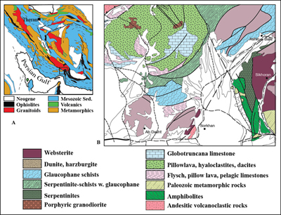 figure 1 a geologic map of iran showing the major ophiolite sutures with inset of the studied area b geological map of the sorkhan area showing the